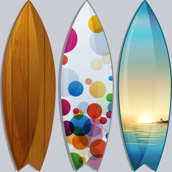 Surfboard templates wooden bokeh scenery decoration Free vector in ...