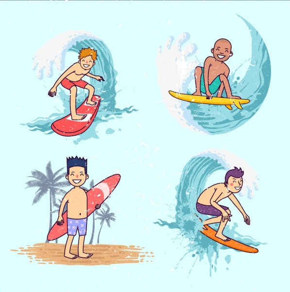 surfer icons collection cute boys cartoon characters