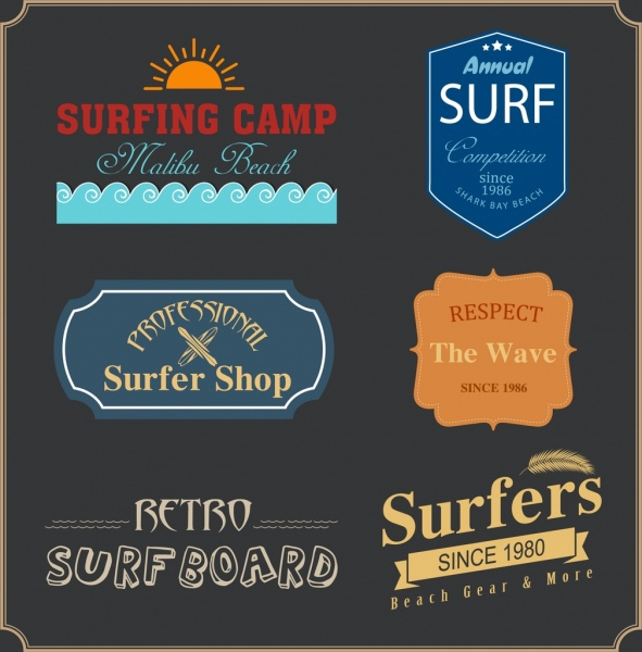 surfing design elements classical logotype text frames decor