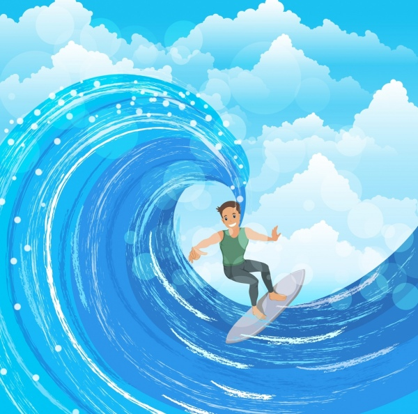 surfing drawing man surfboard wave icons