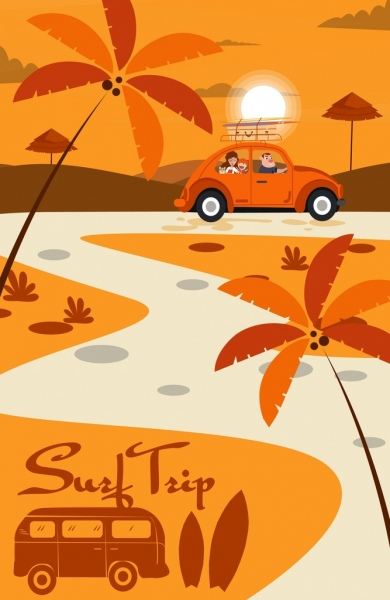 surfing trip painting family car outdoor landscape icons