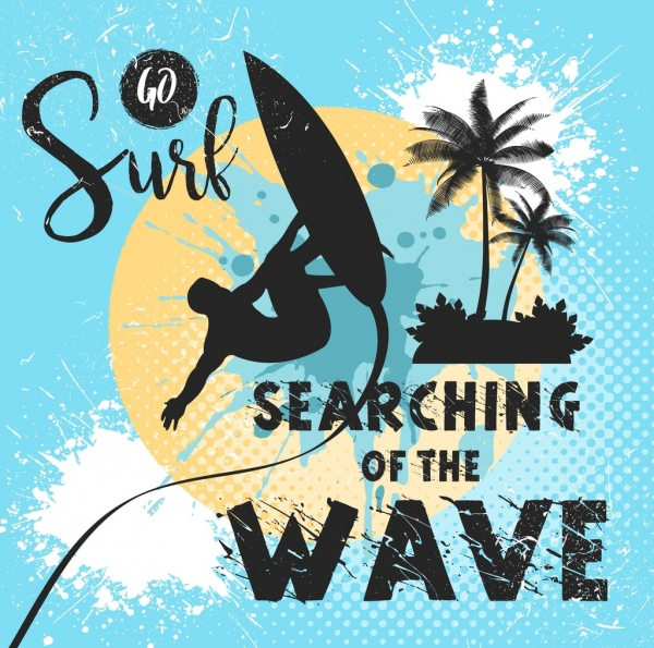 surfing vacation banner surfer icon silhouette grunge design