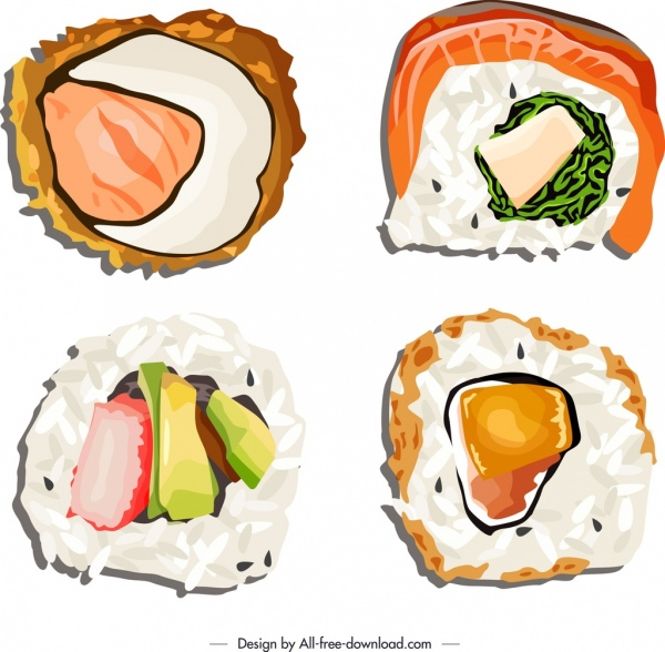 sushi food icons templates colorful classical flat sketch