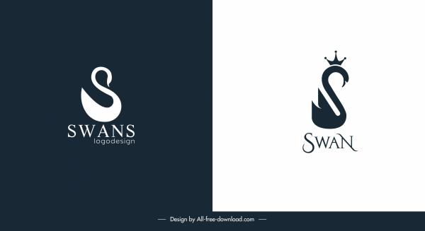 swan logo templates contrast flat swirled shapes design