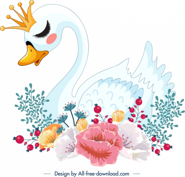 swan painting colorful classical sketch flowers ornament