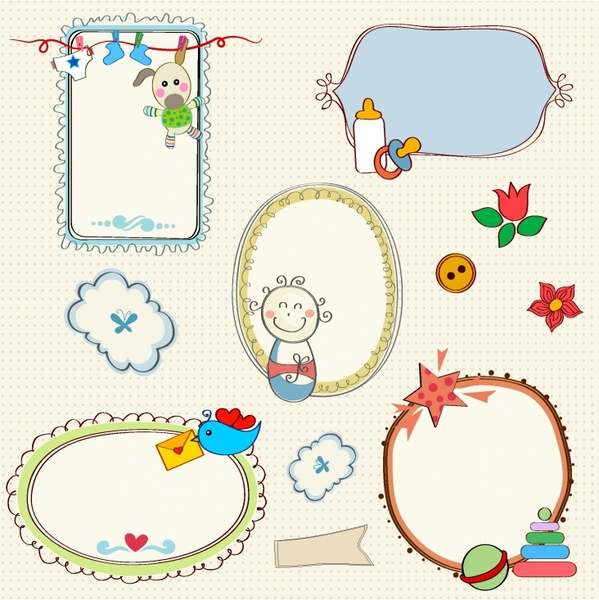 Sweet Baby Frames Free vector in Adobe Illustrator ai ( .AI ...