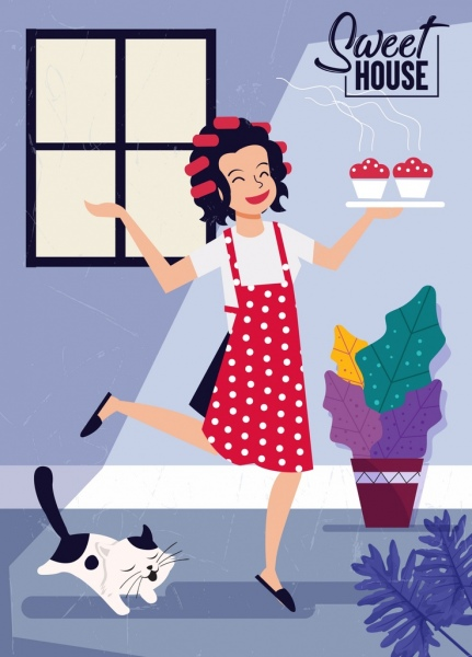 sweet home background happy housewife icon cartoon character