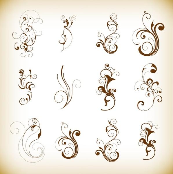 swirl floral decorative pattern elements vector set