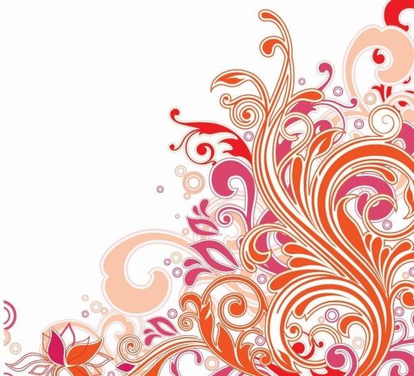 Swirl Floral Design Vector Art