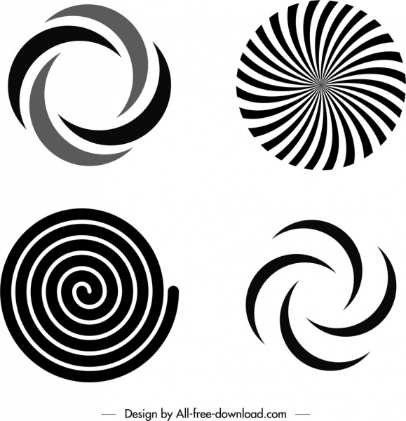 swirled shapes templates black white flat sketch