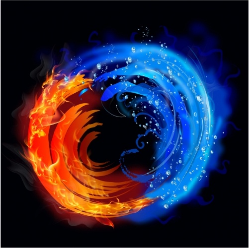Swirling fire and water