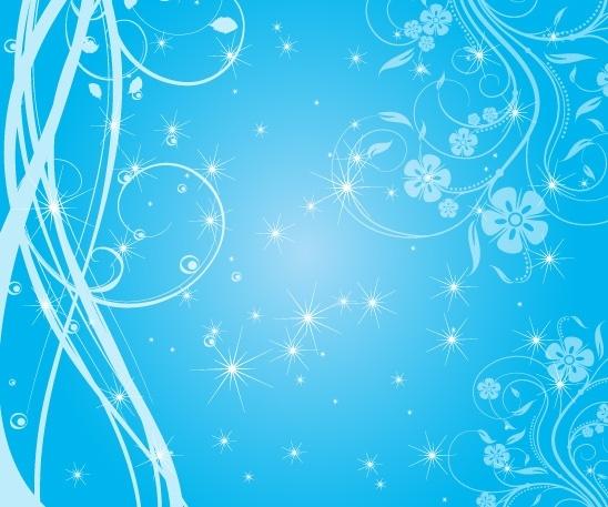 sparkling blue background shiny stars and curves design