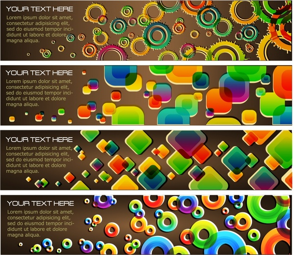 banner templates modern colorful geometric decor