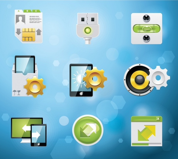 digital system icons shiny colored modern design