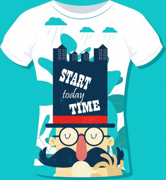 t shirt design template moustache man icon decoration