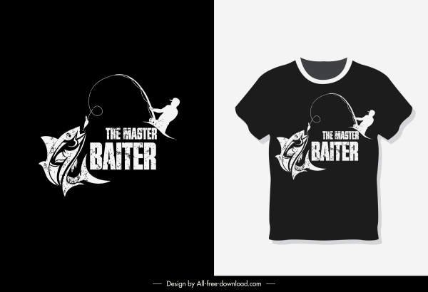 t shirt template fishing sketch dark grunge decor