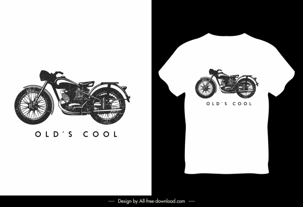 t shirt template motorbike sketch black white decor
