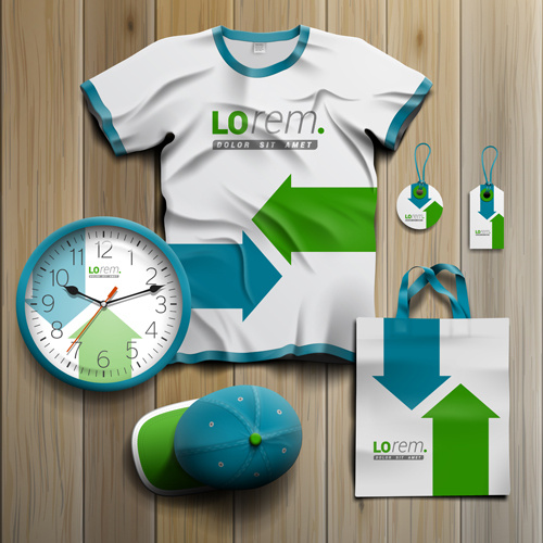 t shirt with tags cap bag and clock kit vector