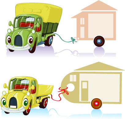 tag car cartoon vector set