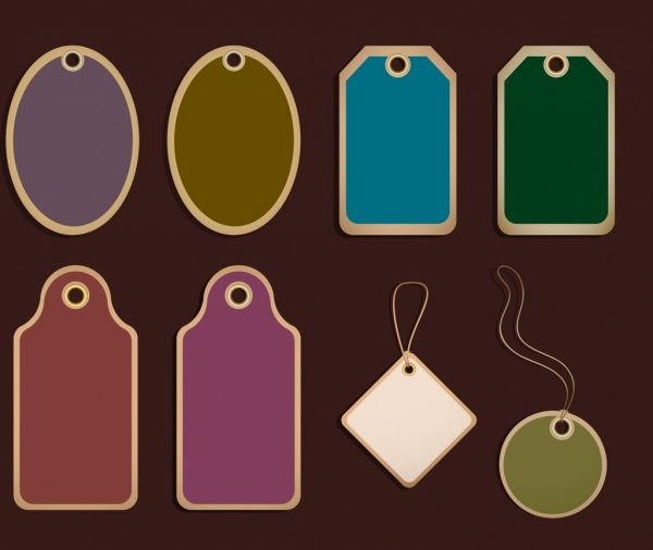 tag icons collection classical colored flat design