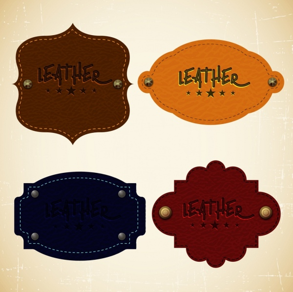 tags isolation various colored leather pattern design