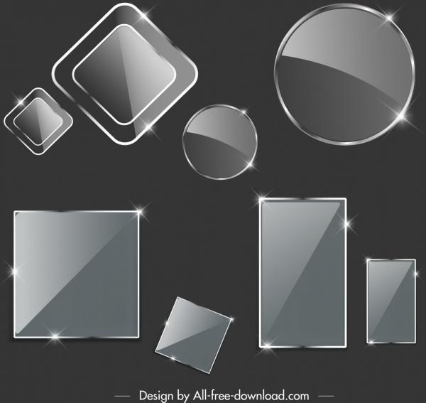 tags templates shiny glass shaped design