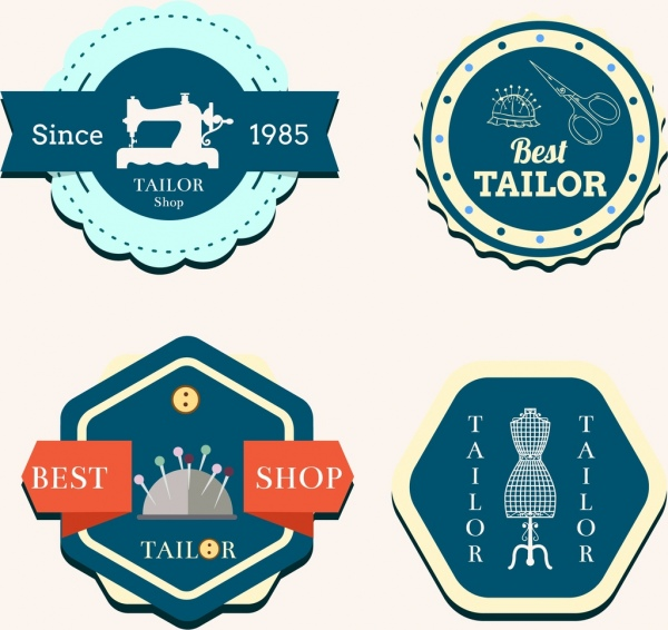 tailor shop label classical geometric design