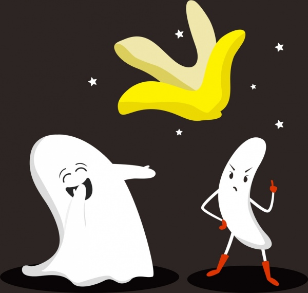 tale background funny ghost stylized banana icons