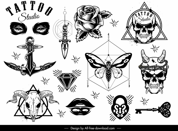 tattoo decor elements black white symbols shapes