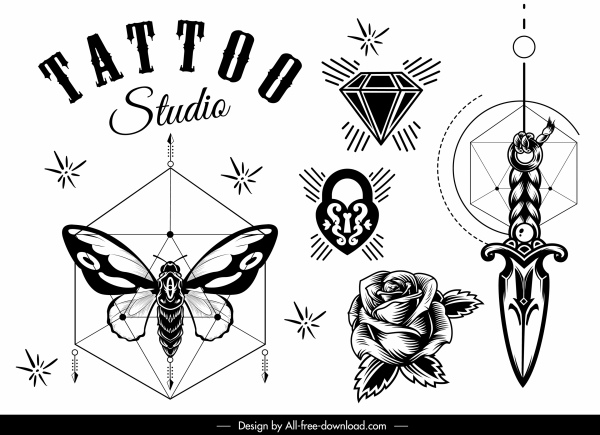 tattoo decor elements black white symbols sketch