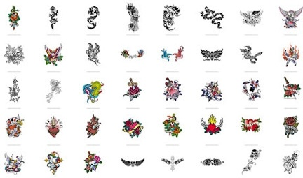 tattoo decoration icons collection colored classical design