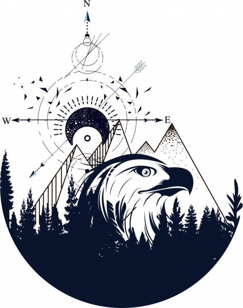 tattoo template eagle mountain navigator sketch tribal decor