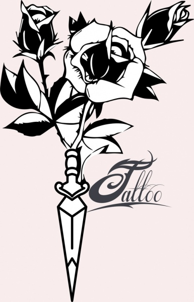 Tattoo Template Roses Sword Decor Classical Sketch Free Vector In
