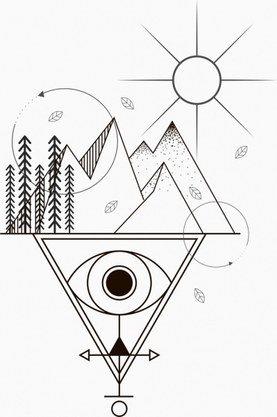 19a572249 Tattoo template sun mountain eye sketch tribal geometry Free vector 2.69MB