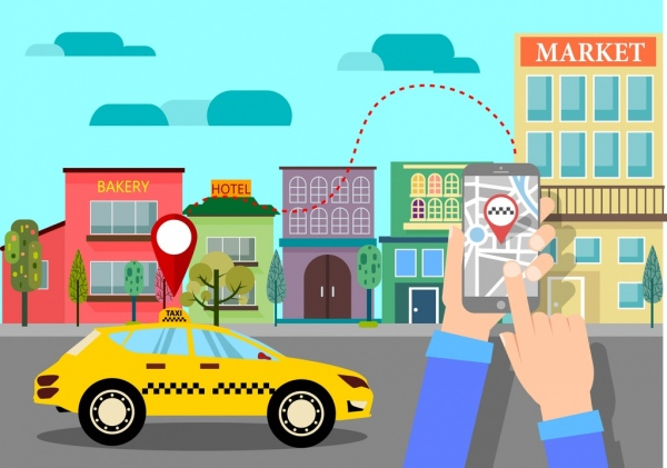 taxi convenience concept smartphone car road icons