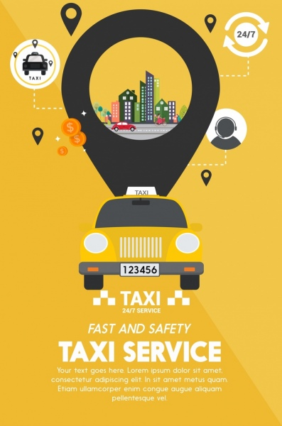 taxi service advertisement yellow design ui oval decoration