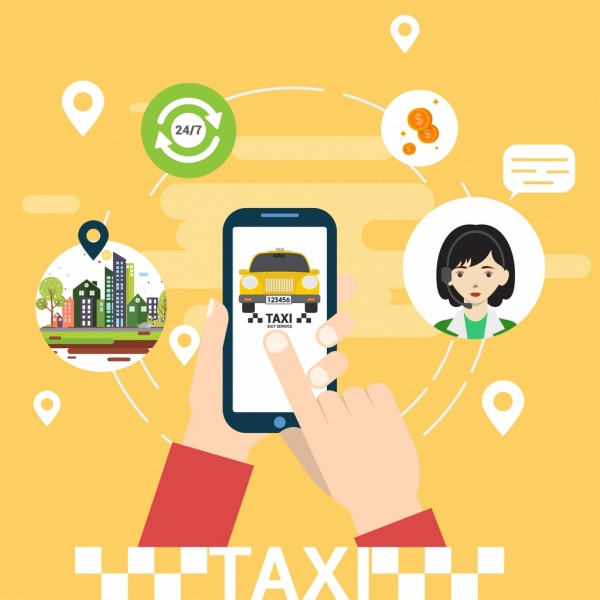 taxi service advertising circle layout hands phone icons