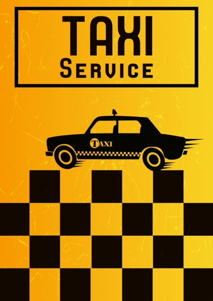 taxi service advertising yellow black squares flat car
