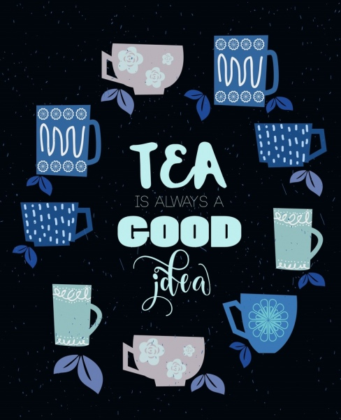tea advertisement cup icons circle layout colored flat