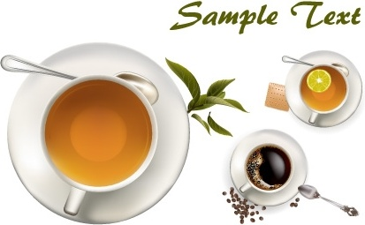 tea and coffee cups icons colored realistic design