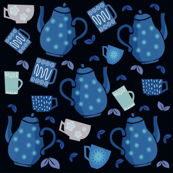 tea backdrop pot cup icons dark design