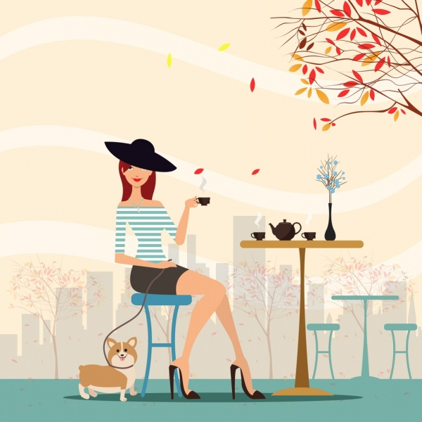 tea break background fashion lady icon autumn scene