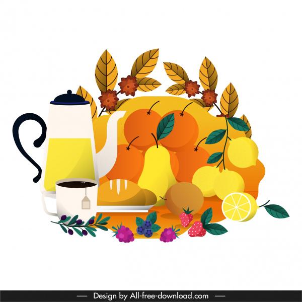 tea break painting bright colorful flat classic design