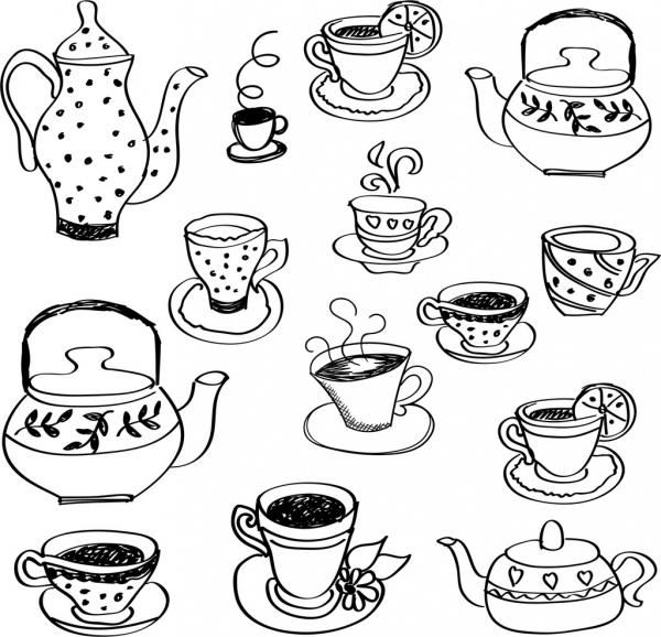 tea cup pot icons black white handdrawn sketch