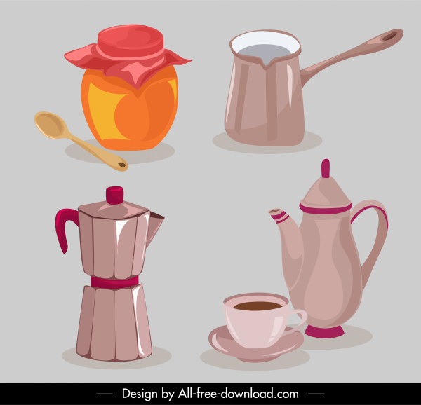 tea drink design elements classical objects sketch