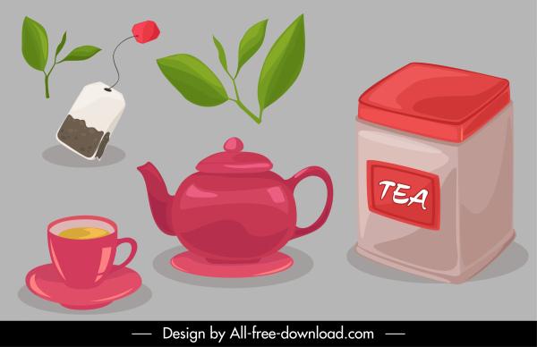 tea drink design elements objects sketch classic design