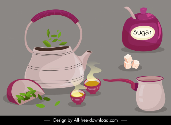 tea making design elements objects ingredients sketch