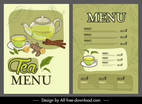 tea menu template elegant classical handdrawn design