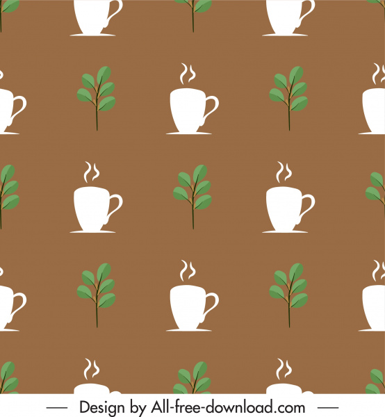 tea pattern template leaves cups sketch classic repeating