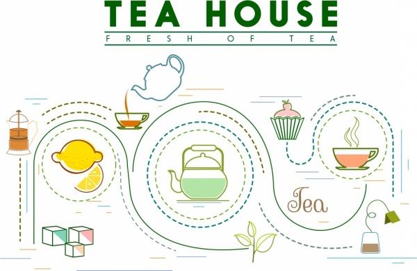 tea processing banner curves decor cup pot icons